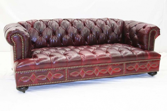 Classic Tufted Red Leather Sofa