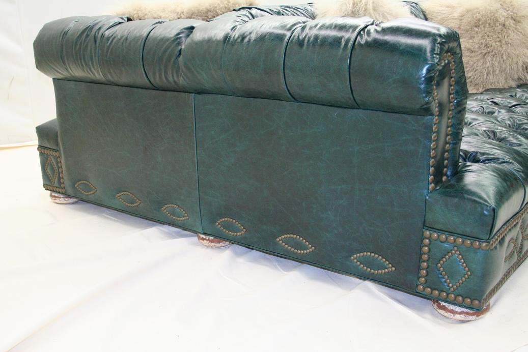 Charming Double Turquoise Leather Sofa Old Hickory Tannery Furniture