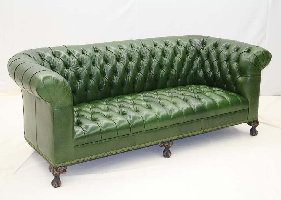 Pine Leather Tufted Sofa