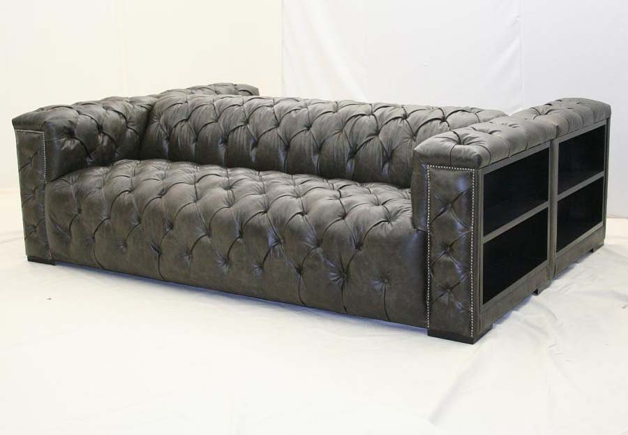 Grey leather double sofa old hickory tannery furniture for Grey double divan