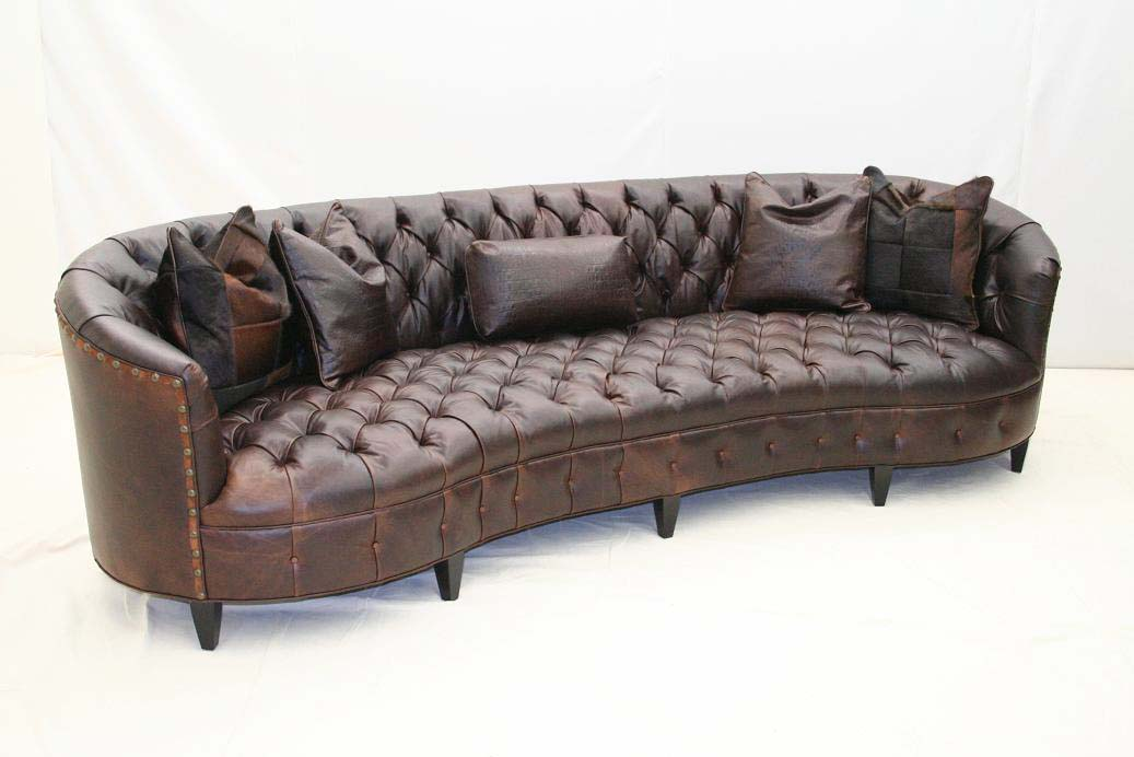 Curved Tufted Leather Sofa Western Passion
