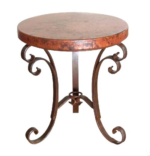 Attractive Hammered Copper Occasional Table