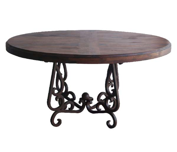 Mesquite wood and iron dining table western dining tables for Table western