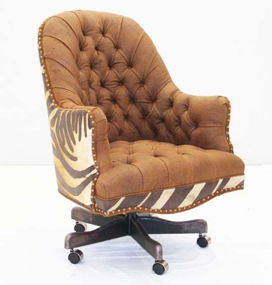 Copper Leather Tufted Office Chair