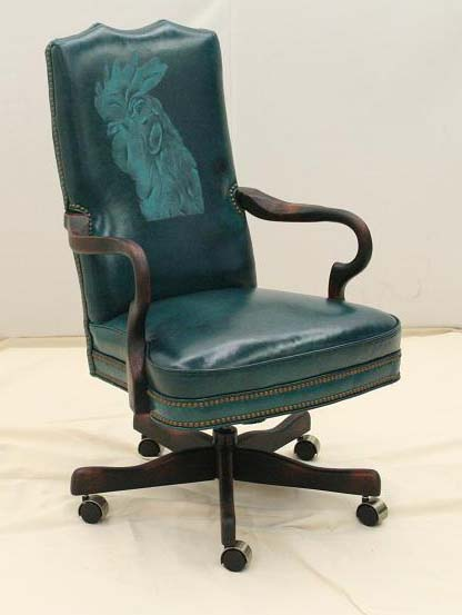 Turquoise Rooster Office Chair Western Passion