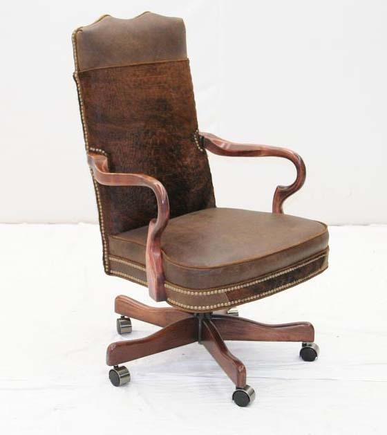 Brindle Hair On Hide Office Chair Old Hickory Tannery