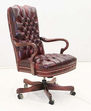 Red Tufted Leather Office Chair Old Hickory Tannery Furniture Free Shipping