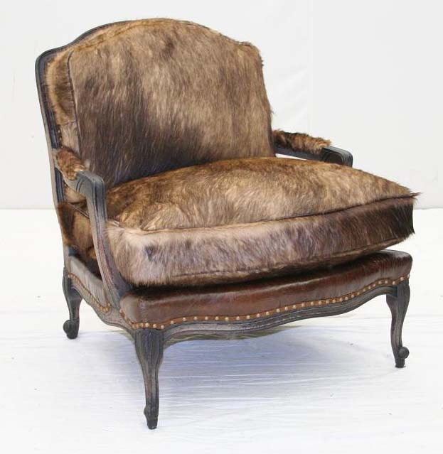 Elegant Wolf Hair Bergere Chair Old Hickory Tannery Furniture