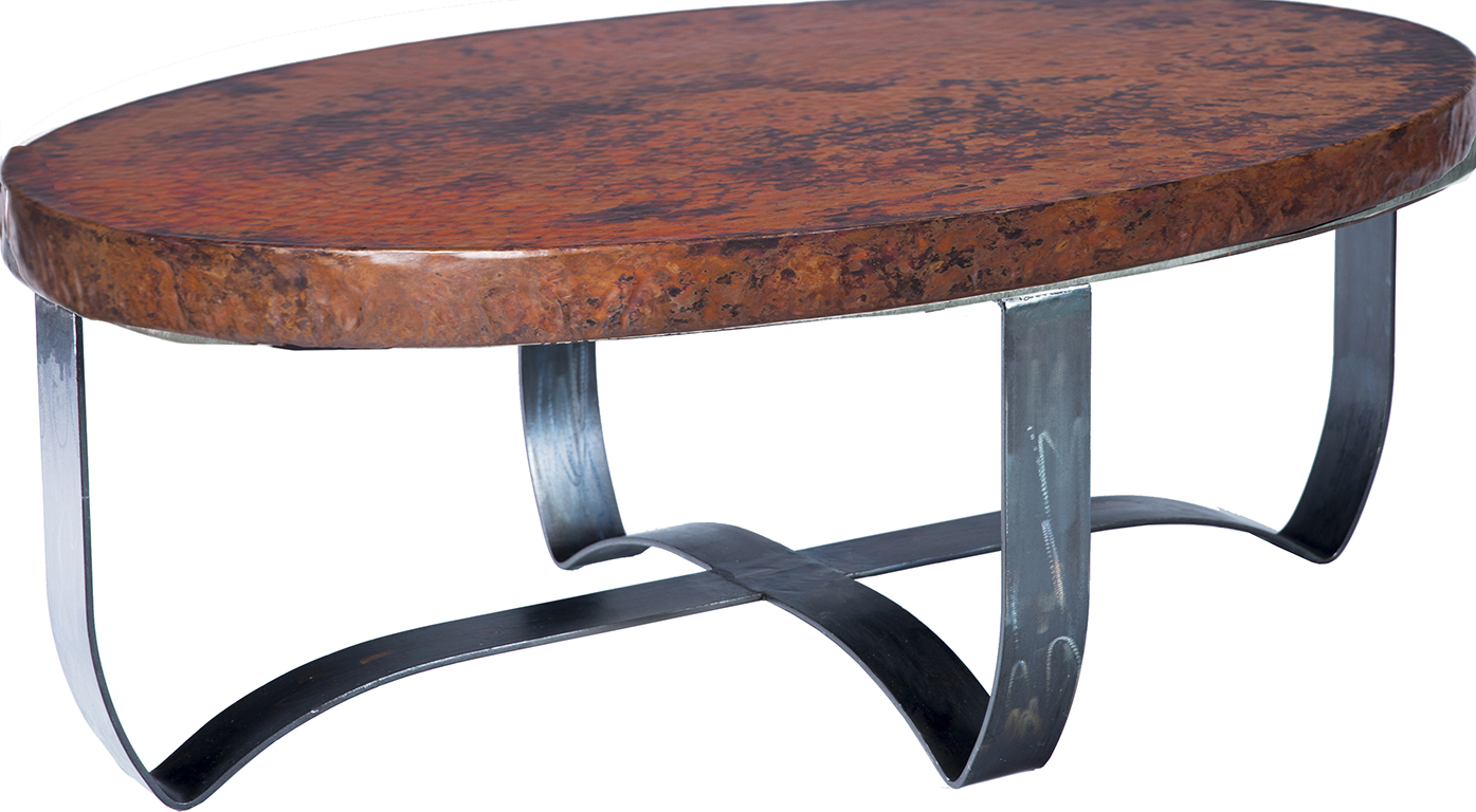 - Round Copper Strap Coffee Table: Western Passion