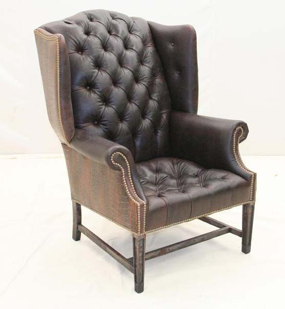 Espresso Tufted Leather Wing Chair Old Hickory Tannery