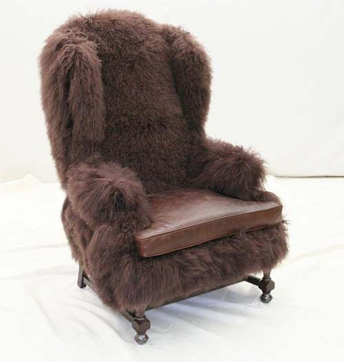 Chocolate Lamb Fur Wing Chair Old Hickory Tannery Furniture Free