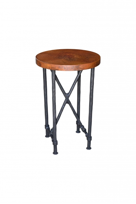 Round Copper Top Accent Table
