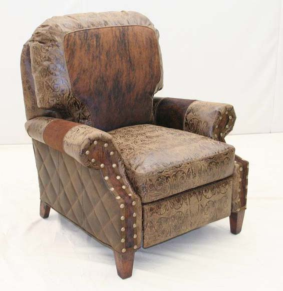 Cowhide Trim Western Recliner Old Hickory Tannery