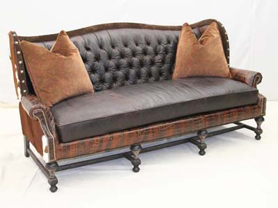 Tufted Patchwork Leather Sofa Old Hickory Tannery