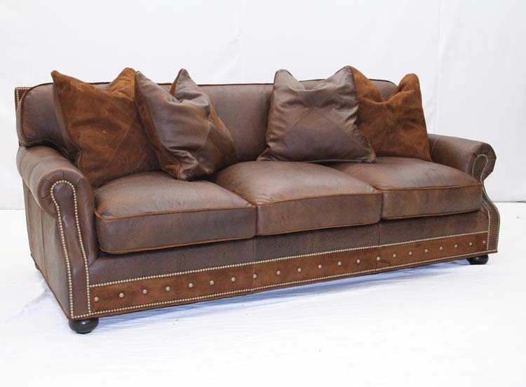 Desert leather sofa with pillows old hickory tannery furniture free shipping Leather sofa throws