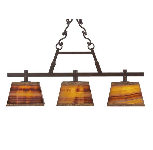 Rustic Billiard Light With Onyx Shades: Western Passion