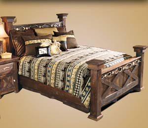 Barnwood Night Table with Antler Accent Western Bedroom Furniture ...