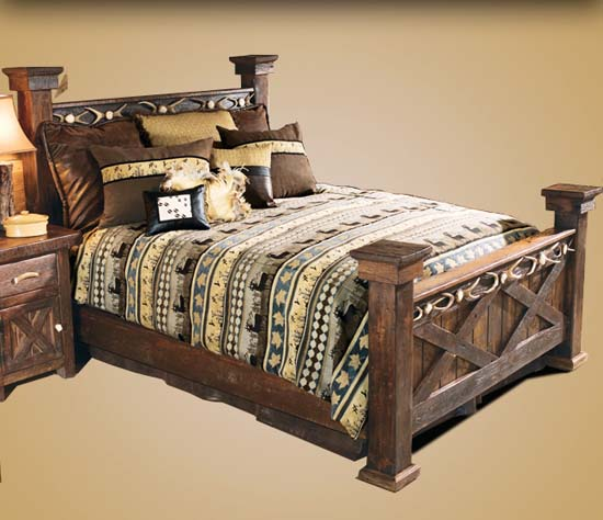 Barnwood Bed with Antler Accent Western Bedroom Furniture - Free ...