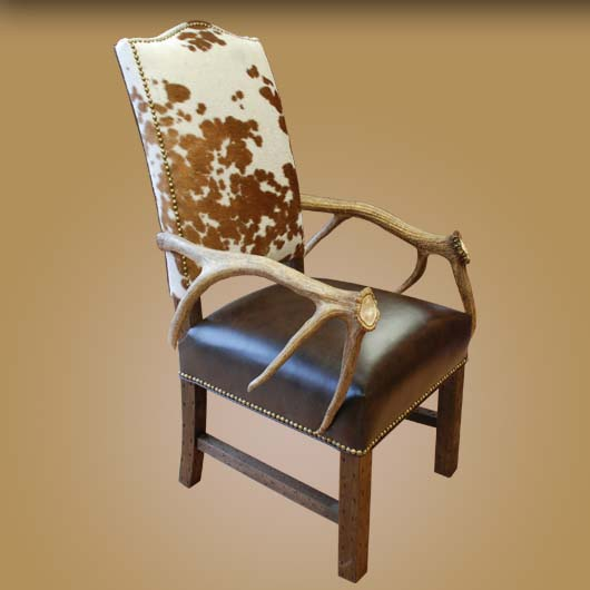 Antler And Cowhide Western Chair Set 2