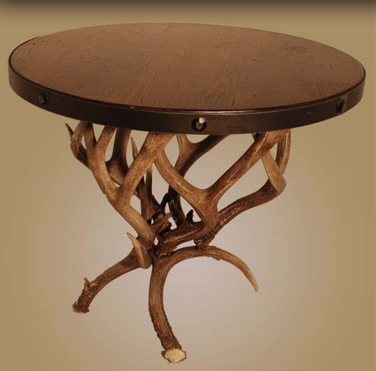 Mule Deer Antler End Table Western Cocktail And End Tables