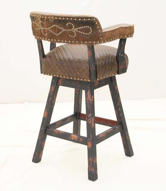Multi Leather Swivel Counter Stool Old Hickory Tannery