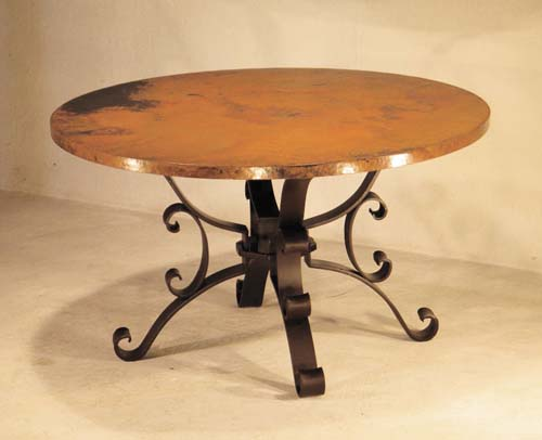 Hammered Copper Dining Table Copper Furniture - Free Shipping!