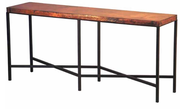 Copper Top Iron Console Table Western