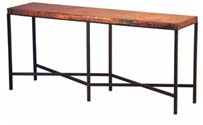 Copper Top Iron Console Table