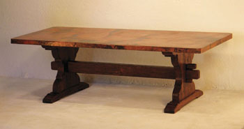 Copper Dining Table With Trestle Base Copper Furniture