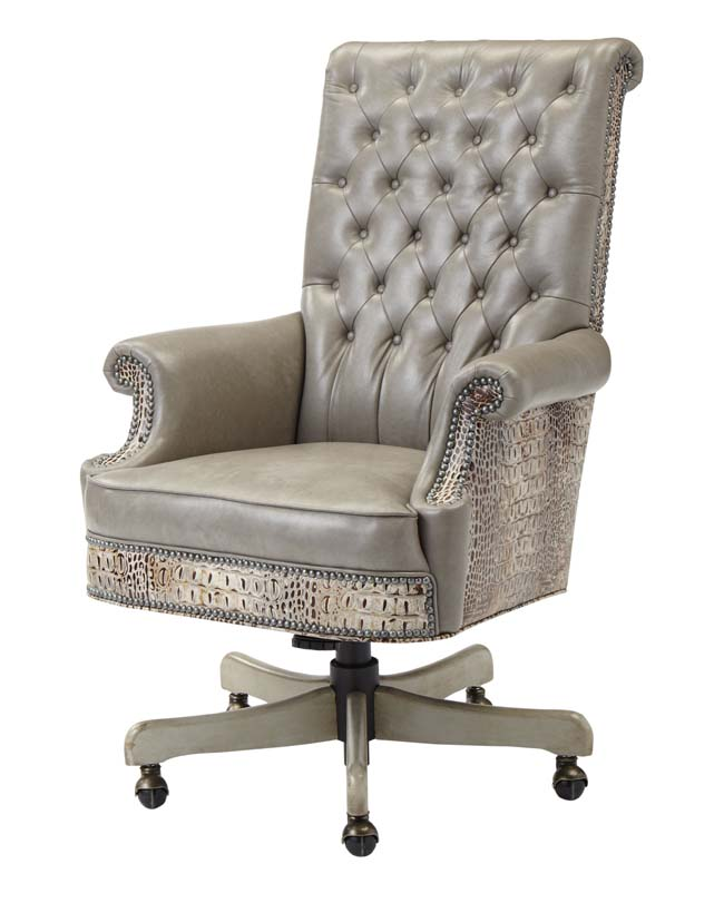 Tufted Dove Leather Office Chair Western Office Furniture