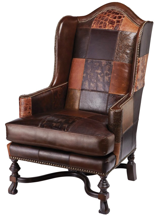Exotic Leather Patchwork Wing Chair Western Accent Chairs
