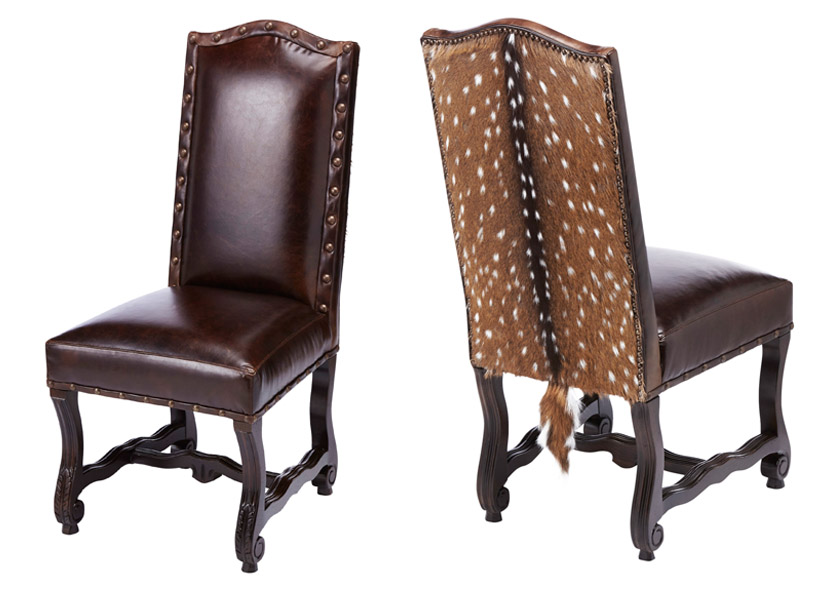 Laramie Exotic Hide Side Chair Western Dining Chairs