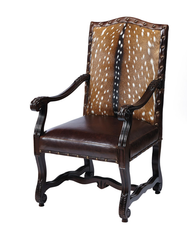 Beautiful Laramie Exotic Hide Arm Chair Western Dining Chairs