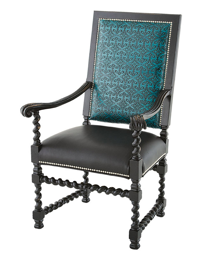 Embossed Teal Arm Chair Western Dining Chairs Free Shipping