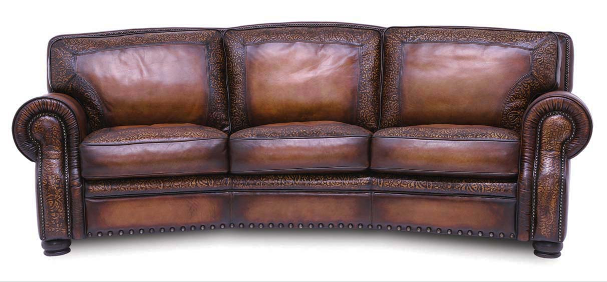 Specialty Conversation Leather Sofa: Western Passion