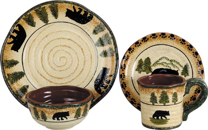 Rustic Bear Lodge Dinnerware Set Western Kitchen and  : DI1810L from www.westernpassion.com size 675 x 424 jpeg 73kB