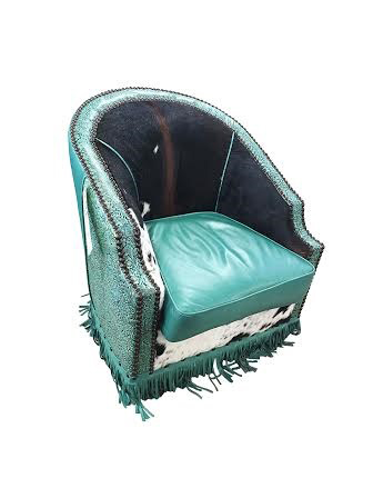 Turquoise Bronco Swivel Accent Chair Western Passion