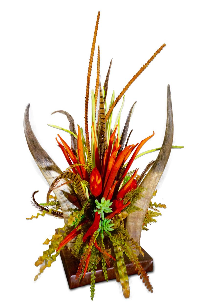 Horn And Floral Centerpiece Western Passion