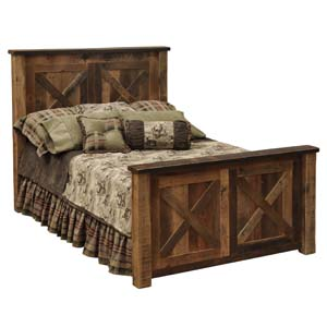 Barndoor style barnwood bed western bedroom furniture for Western style beds