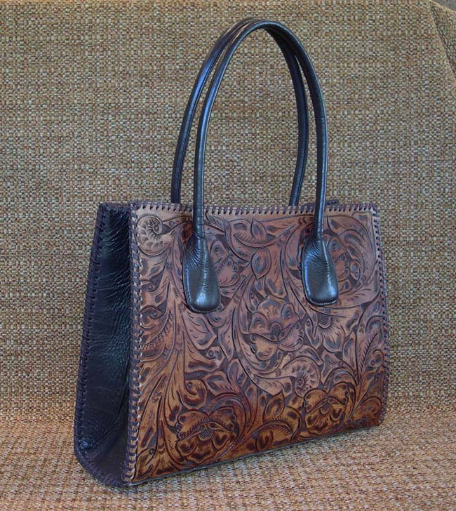 Floral Embossed Leather Tote Western Passion