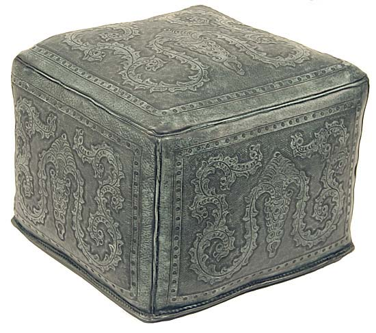 Tooled Turquoise Leather Ottoman Western Passion