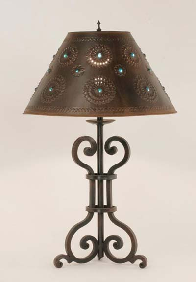Iron table lamp malaga western passion for Western table lamps living room