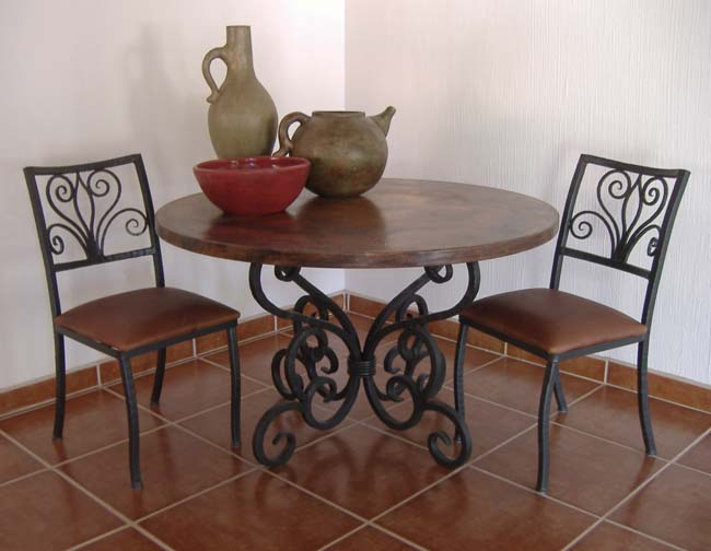 Round Forged Iron Dining Table 237 Western Dining Tables