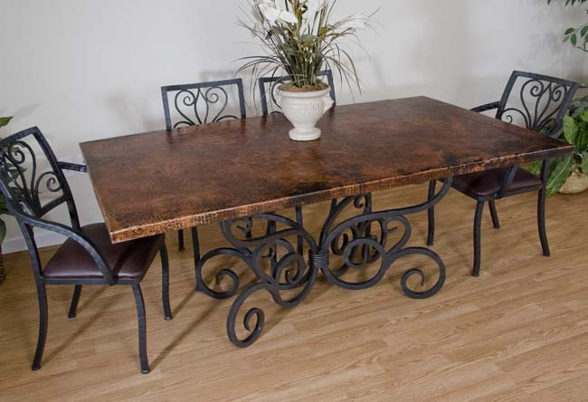 copper and iron dining table 255 copper furniture - Copper Kitchen Table