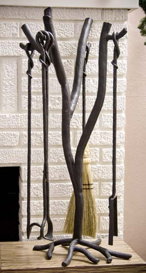 Forged Iron Fireplace Tool Set