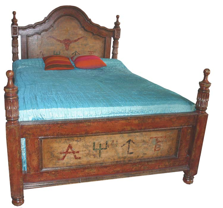 Pillares Painted Western Bed Western Bedroom Furniture Free Shipping