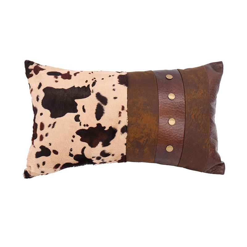 Faux Leather And Cowhide Pillow Western Passion