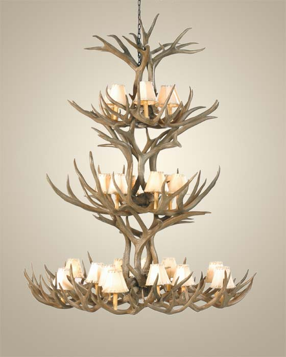 Triple tier mule deer antler chandelier western passion mozeypictures Images