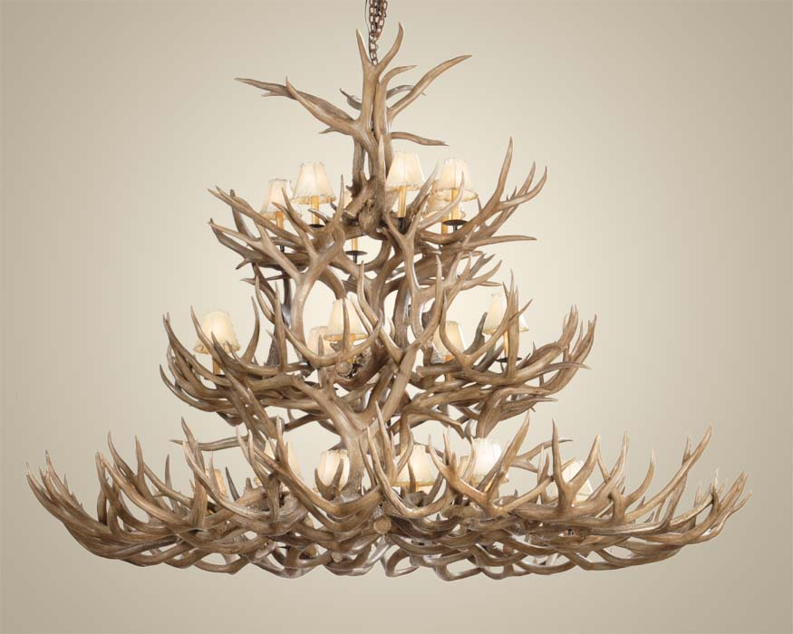 Wide Mule Deer Antler Chandelier Western Passion