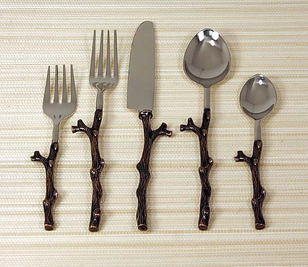 Rustic copper twig design flatware western kitchen and dining decor free shipping - Twig silverware ...